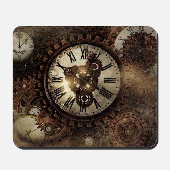 Vintage Steampunk Clocks Mousepad