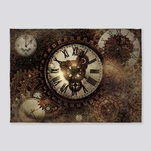 Vintage Steampunk Clocks 5'x7'Area Rug
