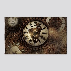 Vintage Steampunk Clocks Area Rug