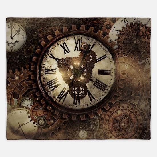 Vintage Steampunk Clocks King Duvet