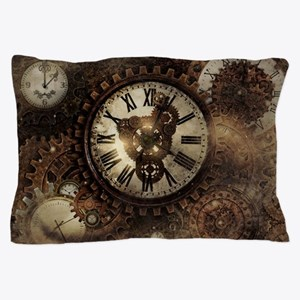 Vintage Steampunk Clocks Pillow Case