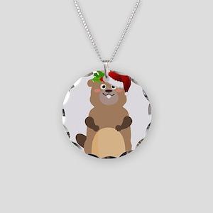 Santa Claus christmas gopher Necklace Circle Charm