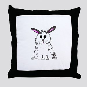 Black and White Fluffy chubby bunny d Throw Pillow