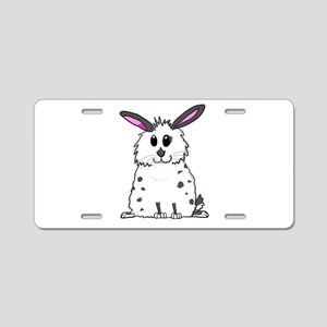 Black and White Fluffy chub Aluminum License Plate