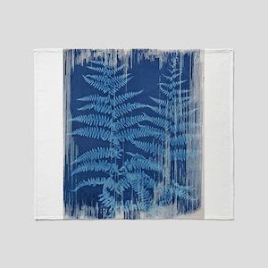 Fern Pair Cyanotype in Blue Throw Blanket