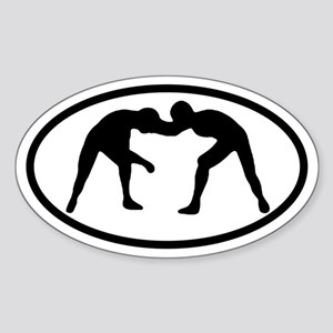 Wrestling Wrestlers Oval Sticker
