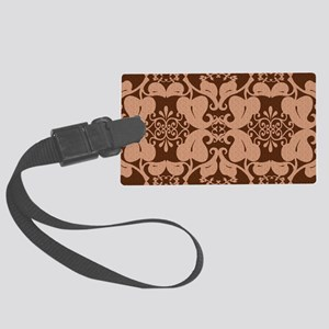 Modern Peach And Brown Pattern Large Luggage Tag
