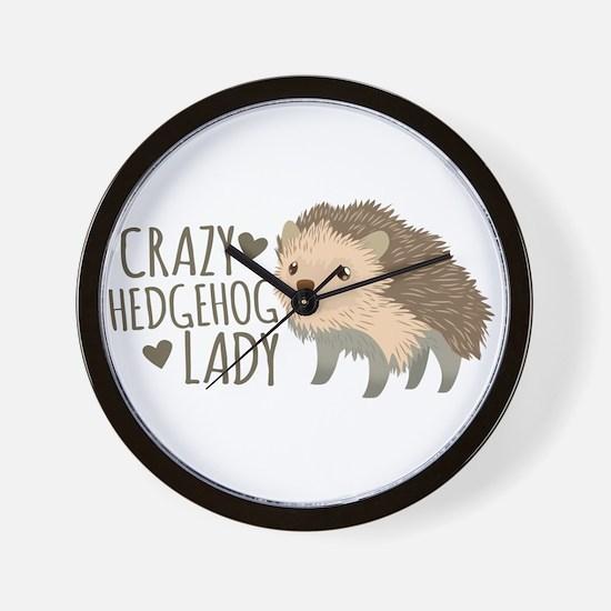Crazy Hedgehog Lady Wall Clock