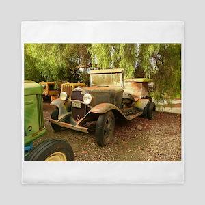 old car on farm Queen Duvet