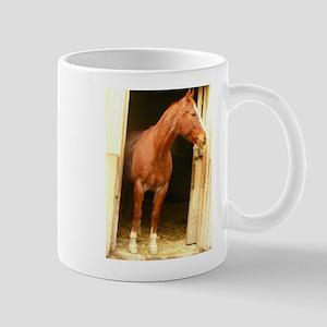 chestnut horse in stall Mugs