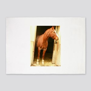 chestnut horse in stall 5'x7'Area Rug