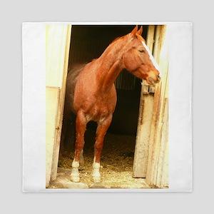 chestnut horse in stall Queen Duvet
