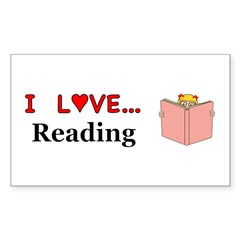 I Love Reading Sticker (Rectangle 50 pk)