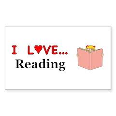 I Love Reading Sticker (Rectangle 50 pk)