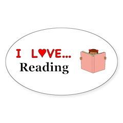 I Love Reading Sticker (Oval)