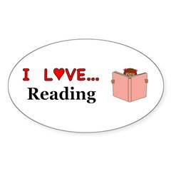 I Love Reading Sticker (Oval)