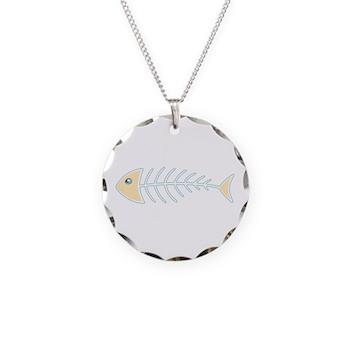 Herring Bones Necklace Circle Charm