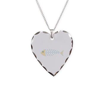 Herring Bones Necklace Heart Charm