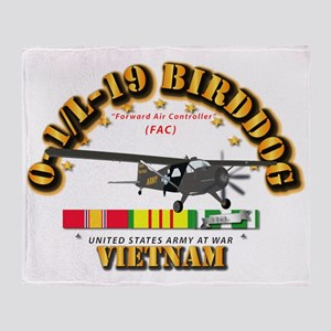 L19 Bird Dog w VN Svc Ribbons Throw Blanket