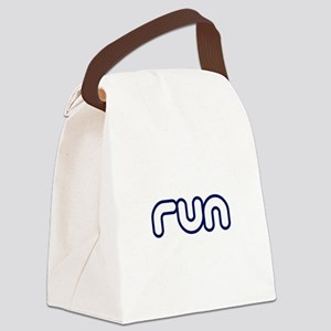 run_blue_sticker Canvas Lunch Bag