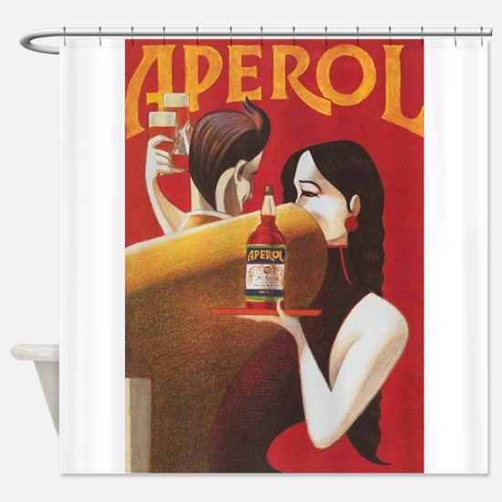 Aperol Vintage Beverage Poster Shower Curtain