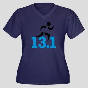 Half maratho Women's Plus Size V-Neck Dark T-Shirt