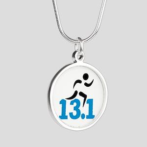 Half marathon 13.1 miles Silver Round Necklace