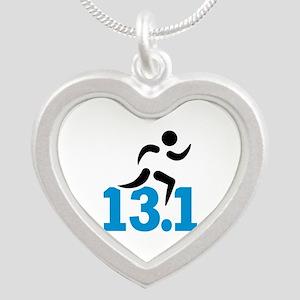 Half marathon 13.1 miles Silver Heart Necklace