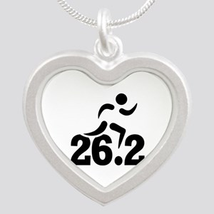 26.2 miles marathon Silver Heart Necklace