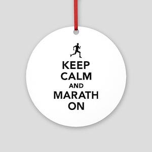 Keep calm and Marathon Round Ornament