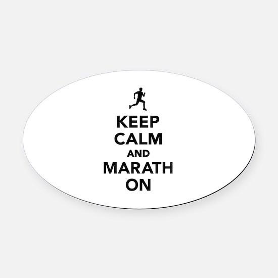 Keep calm and Marathon Oval Car Magnet