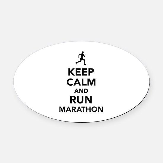 Keep calm and run Marathon Oval Car Magnet