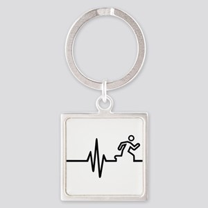 Runner frequency Square Keychain
