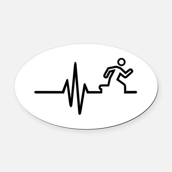 Runner frequency Oval Car Magnet