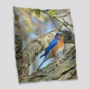 Bluebird Burlap Throw Pillow