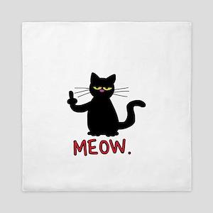 meow fuck you cat Queen Duvet