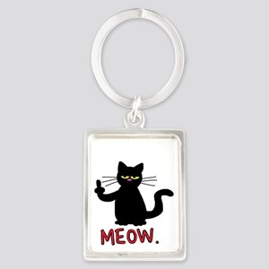 meow fuck you cat Keychains