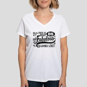 85th Birthday Women's V-Neck T-Shirt