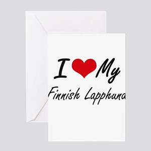 I love my Finnish Lapphund Greeting Cards