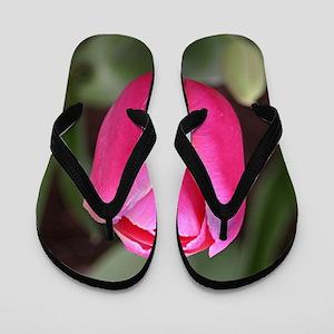 Single pink tulip bloom Flip Flops