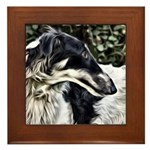 Borzoi Profile Framed Tile