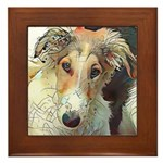 Borzoi Puppy Abstract Framed Tile