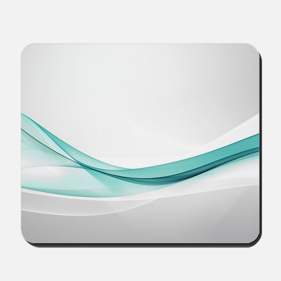 Teal Wave Abstract Mousepad