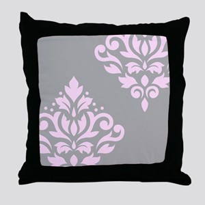 Scroll Damask Art I PG Throw Pillow