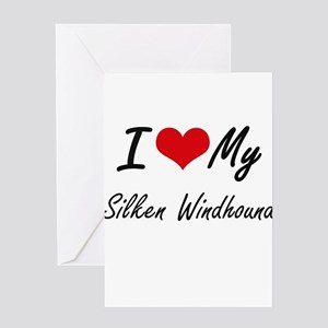 I love my Silken Windhound Greeting Cards