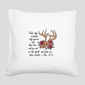 Bible Verse Hunting Square Canvas Pillow