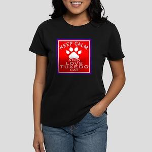 Keep Calm And Tuxedo Cat Women's Dark T-Shirt