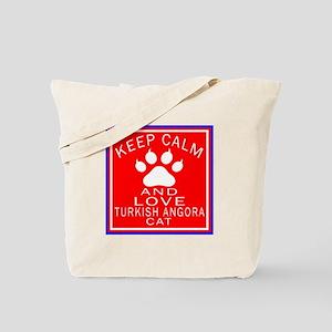 Keep Calm And Turkish Angora Cat Tote Bag