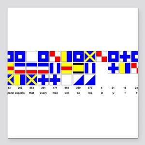 England Expects Signal Black text Square Car Magne