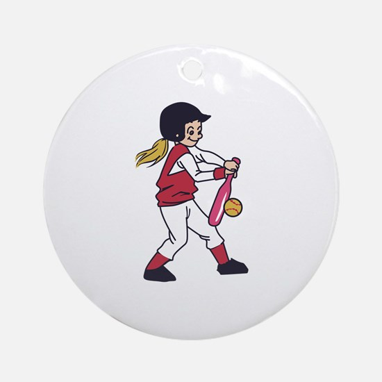 Softball Girl Round Ornament